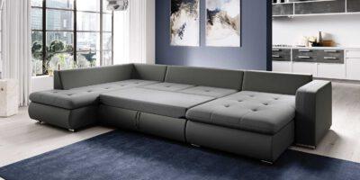 Canapé-lit gris Fado U dans le salon